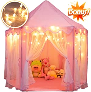 Orian Princess Castle Playhouse Tent for Girls with LED Star Lights – Indoor and Outdoor Large Kids Play Tent for Imaginative & Pretend Games – ASTM Certified, Cool Toys for Girls 55 x 53 inch (Pink)