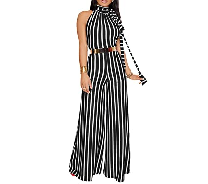 cfc73aa441 Amazon.com  private-space-Aurelie Jumpsuits Women Wide Leg Pants Summer  Female Overalls Sexy Backless Party Club Rompers Womens Jumpsuit  Clothing