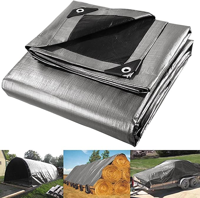 RV Or Pool Cover!! Tarp Cover 9X12 Silver//Black 2-Pack Heavy Duty Thick Material Boat Great for Tarpaulin Canopy Tent Waterproof