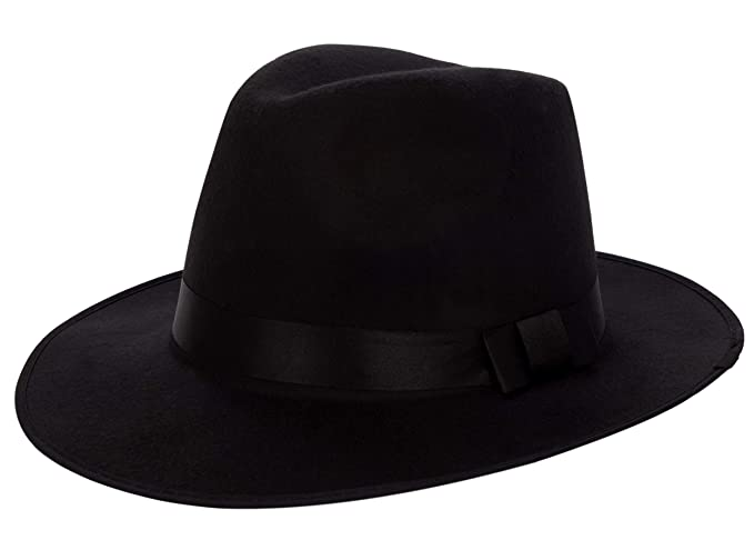 4bb69975aa83ae Medium Vintage Style Men's Hard Felt Wide Brim Fedora Trilby Panama Hat ( Black)