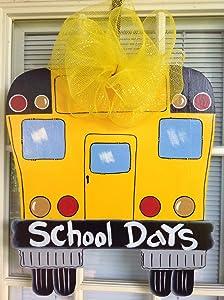RDse5s5 Back to School Wreath Front Door Decor Classroom Door Hanger School Door Sign School Door Hanger School Bus Teacher Wood Sign