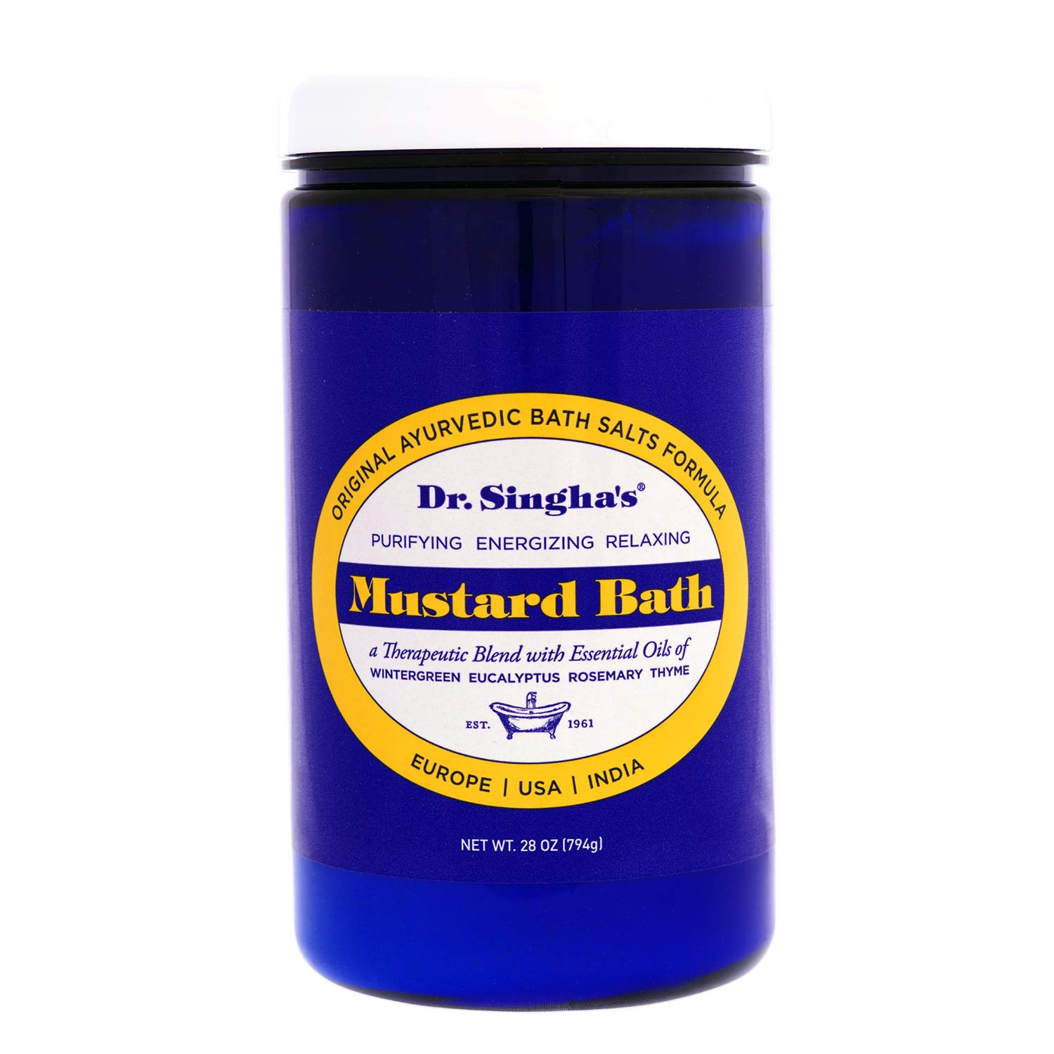 Dr. Singha's Mustard Bath, Therapeutic Bath Salts, 28 Ounce - Relaxing Bath Salts & Essential Oils Blend for Sore Muscles