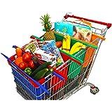 Bolsas Reusables - Kit de 4 bolsas reusables en colores Naranja, Verde, Morado y Azul. Ideales para carritos de supermercados