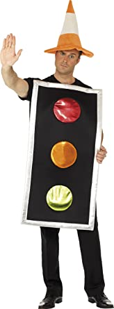 smiffys adult unisex traffic light costume printed tabard and traffic cone hat funny side
