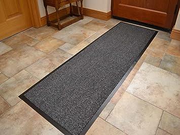 tapis paillasson long etroit pour corridor entree cuisine resistant pvc noir gris clair