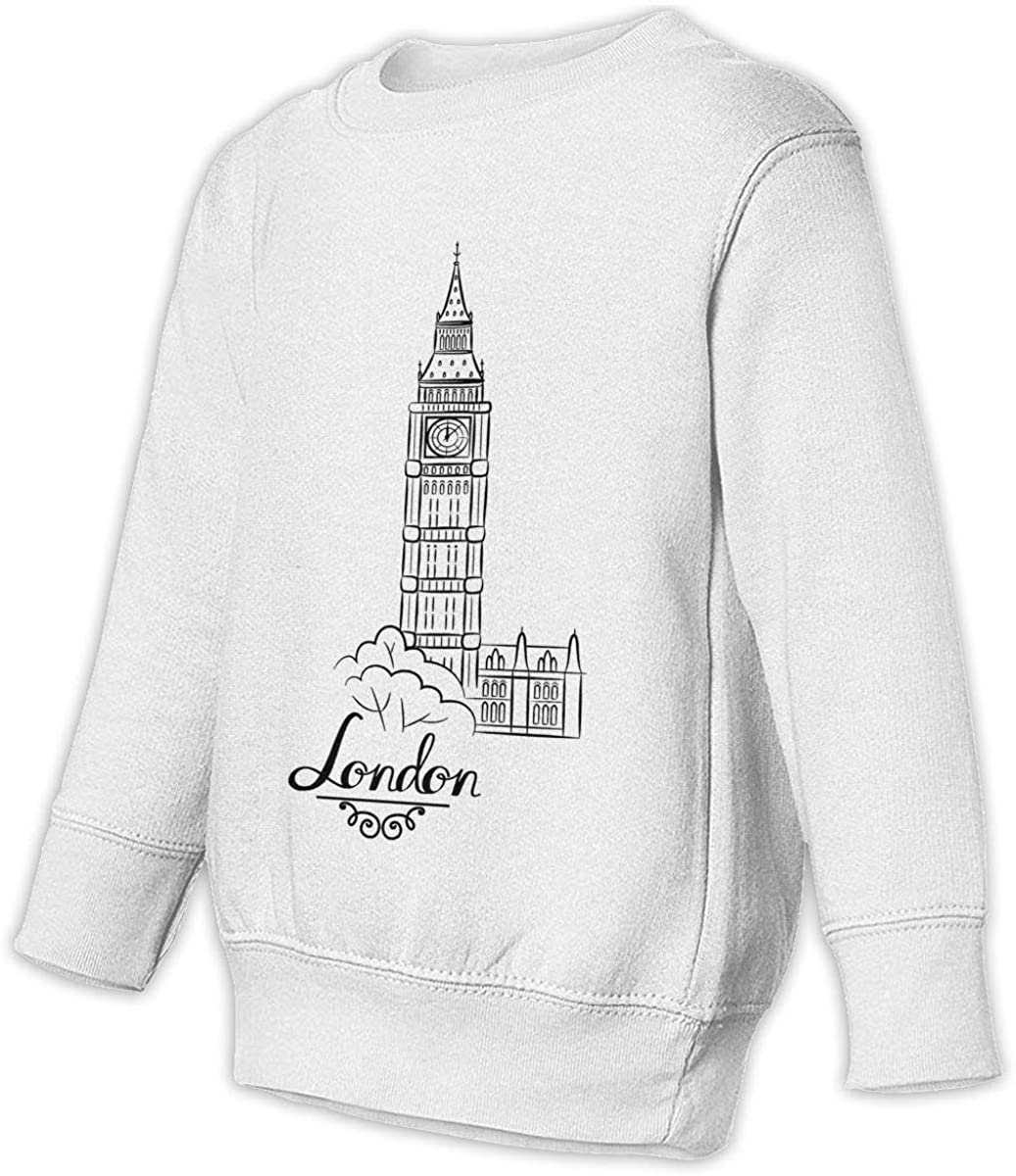 London Eiffel Tower Big Ben Boys Girls Pullover Sweaters Crewneck Sweatshirts Clothes for 2-6 Years Old Children