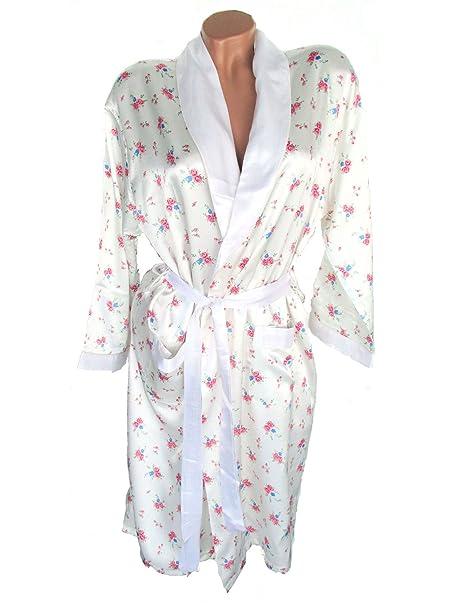 Mujer de seda/satén de kimono, bata, con diseño de flores, color crema Creme-Weiß Small: Amazon.es: Ropa y accesorios