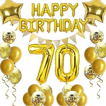 """16/"""" 70 or nombre ballons 70th Fête D/'anniversaire Anniversaire Foil Balloon Decor"""