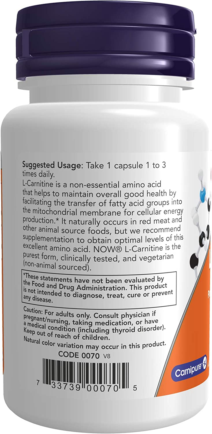 NOW Supplements, L-Carnitine 500mg, Purest Form, Amino Acid, Fitness Support*, 30 Veg Capsules: Health & Personal Care