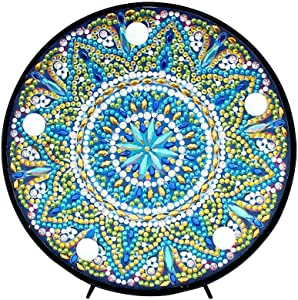 Diamond Painting Mandala with LED Lights DIY Special Shaped Full Drill Crystal Diamond Drawing Bedside Lamp for Home Decoration or Gifts-6x6in (Mandala-1)