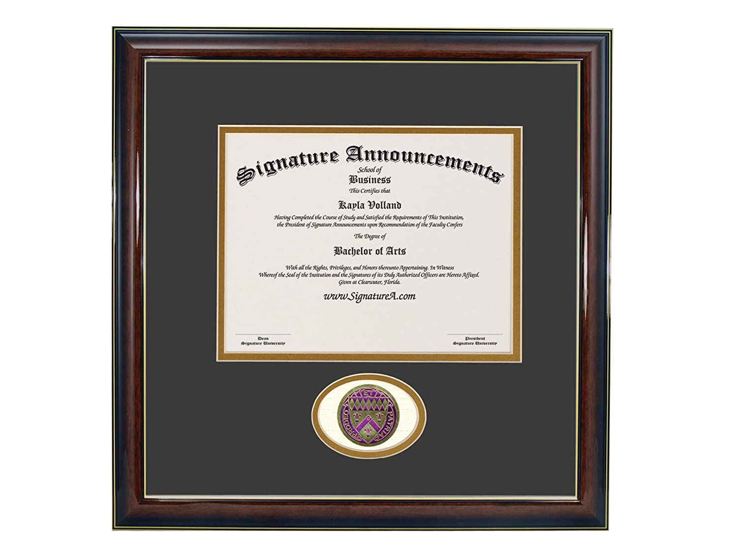 Professional//Doctor Sculpted Foil Seal Graduation Diploma Frame 16 x 16 Gold Accent Gloss Mahogany Signature Announcements Loras-College Undergraduate