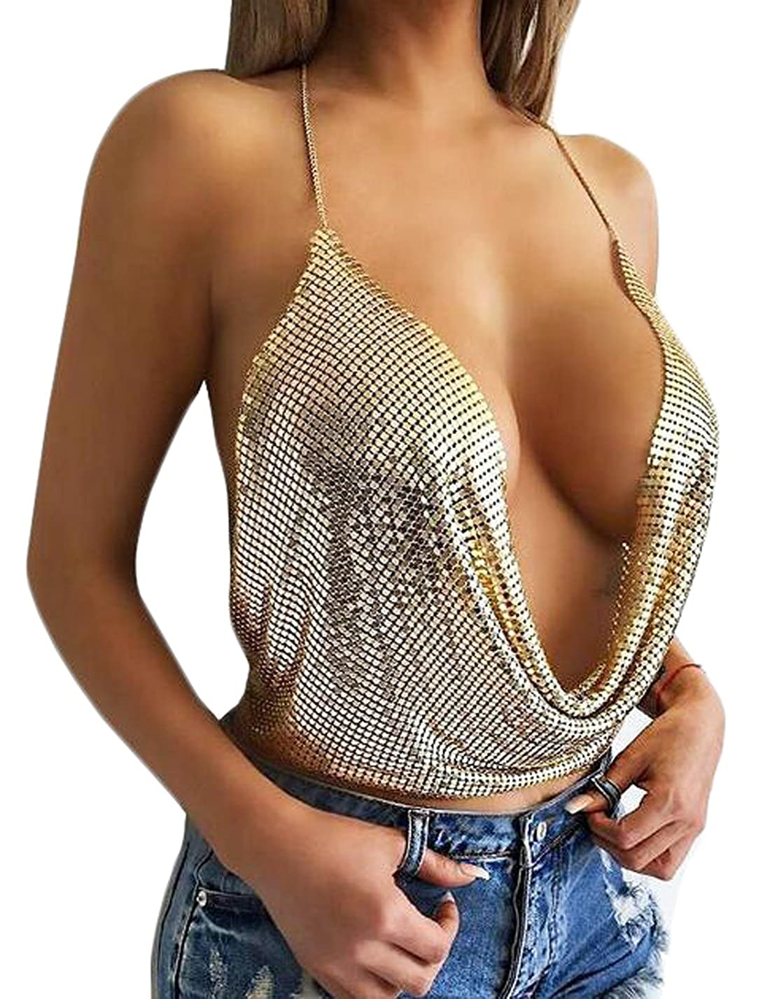 Deep v neck tops women sexy