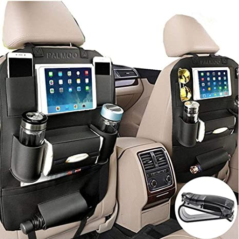 PALMOO Pu Leather Car Seat Back Organizer And IPad Mini Holder Universal Use As