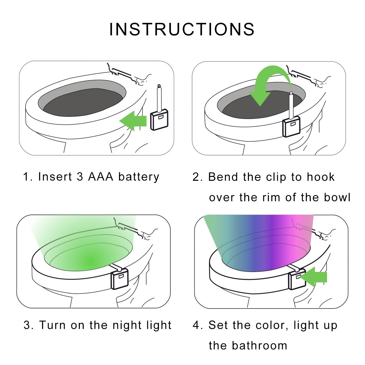 Toilet Bowl Light Motion Activated 8 Color Changing Toilet Night Light Seat Light Inside Toilet Bowl for Bathroom Washroom Potty Training Drimran Led Toilet Light Motion Sensor Light Detection