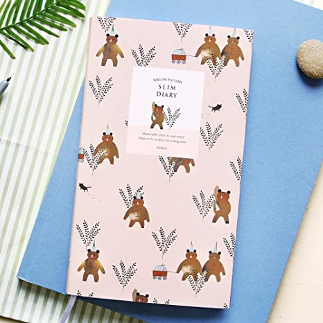 2018 INDIGO Cute Willow Patterns Slim Pocket Personal Daily Diary, Planner, Journal, 3.2 x 6.2 inches (Pink Bear)