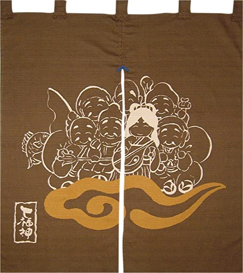 Made in Japan Indigo Dyeing the Seven Deities of Good Fortune Noren Curtain Tapestry