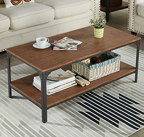Stupendous Homissue 43 Rectangular Coffee Table Vintage Industrial Cocktail Table With Lower Storage Shelf For Living Room Brown Finish Creativecarmelina Interior Chair Design Creativecarmelinacom