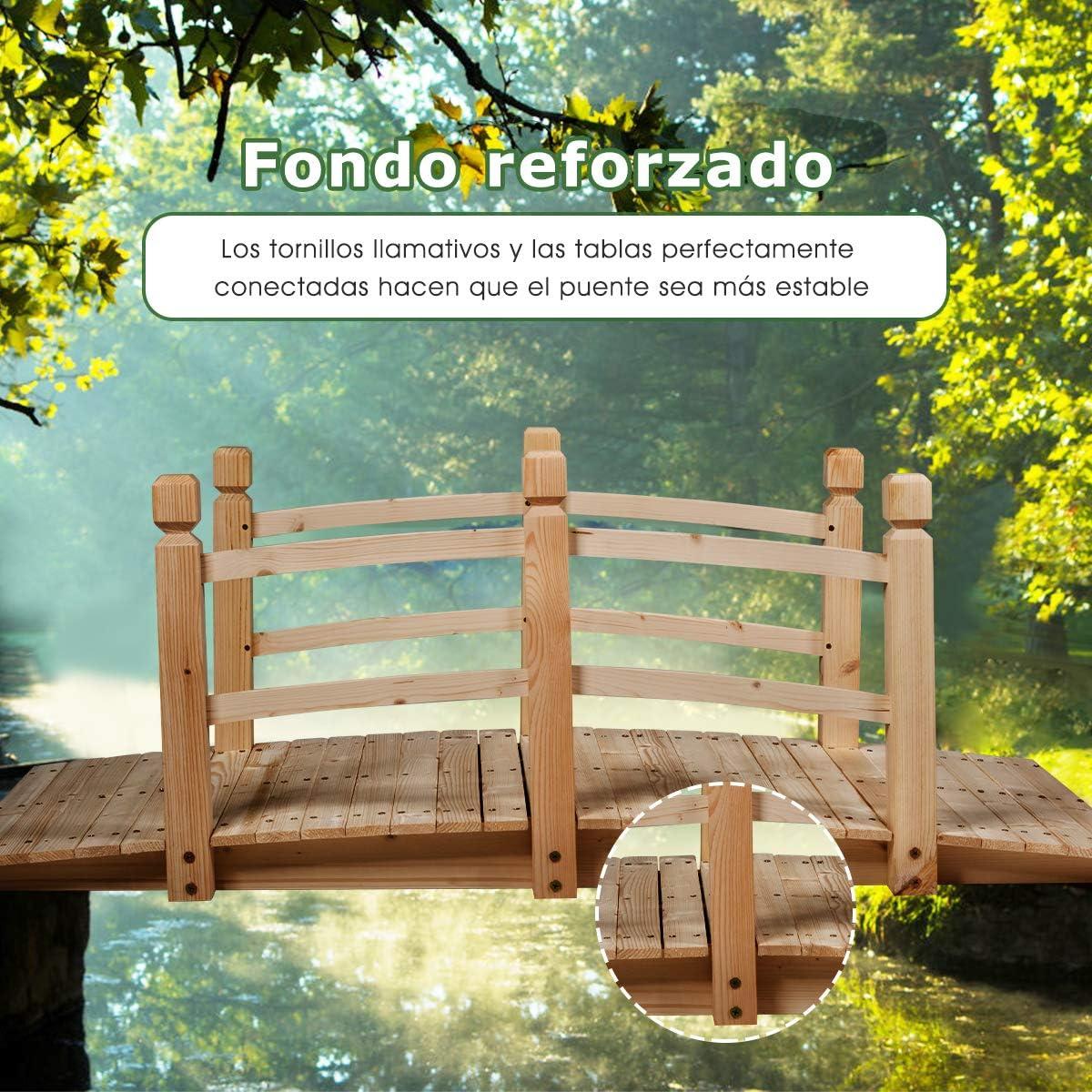 COSTWAY Puente de Jardín Madera para Estanque Jardín Hogar Decorativo con Barandilla 150x67x55 cm (Color Madera): Amazon.es: Hogar