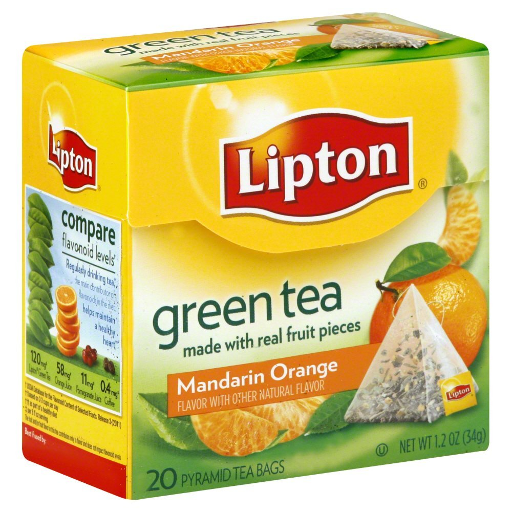 Lipton Green Tea Pyramid Tea Bags Mandarin Orange 20 CT (Pack of 18)
