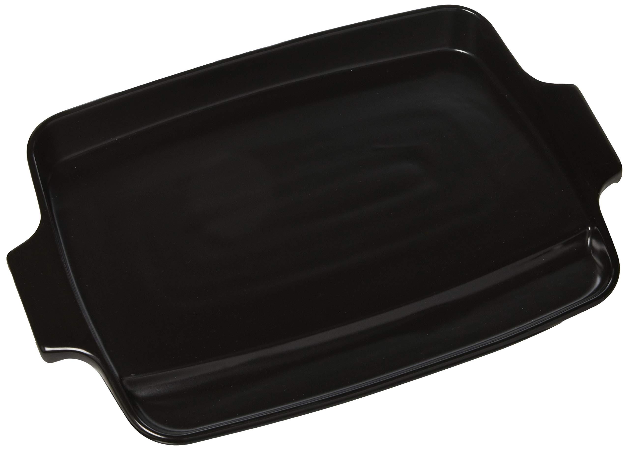Charcoal Companion CC3813 Flame-Friendly Ceramic Plancha, 14.3'' x 9.4'' x 2.5'', Black