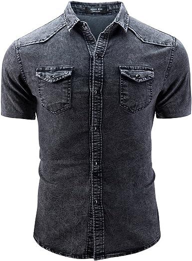 CAOQAO Hombre Camisas Camisa para Hombres Duros Estilo Casual Camisa Slim fit con Botones y Bolsillo Blusa de Manga Corta: Amazon.es: Ropa y accesorios