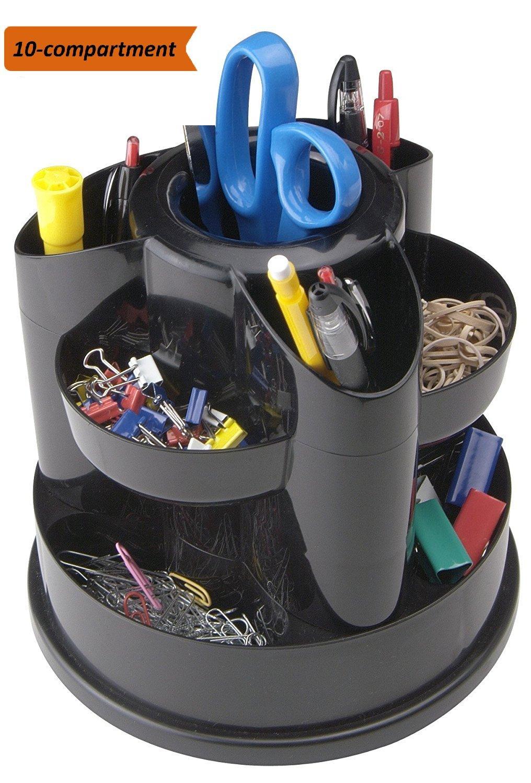 1InTheOffice 10-Compartment Rotating Desk Organizer, Scissor Rack