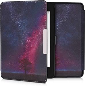 kwmobile Case Compatible with Amazon Kindle Paperwhite (10. Gen - 2018) - PU e-Reader Cover - Cosmic Nature Dark Pink/Dark Blue/Black