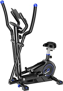 Equipment Home Gym Elliptical Cross Trainer Elliptical Machine Cross Trainer 2 in 1 Exercise Bike Cardio Fitness Home Gym Equipment Elliptical Machine Trainer Cross Trainers (Color : Black, Size : Fre