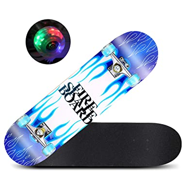 """FuLov Complete Skateboard, Retro Cruiser Skate Boards with Available in and Transparent Wheel Colours 31"""" X 8"""" for Teens Adults Beginners Kids : Sports & Outdoors"""