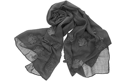 Sciarpa donna ROMEO GIGLI grigio stola fantasia floreale tinta unita