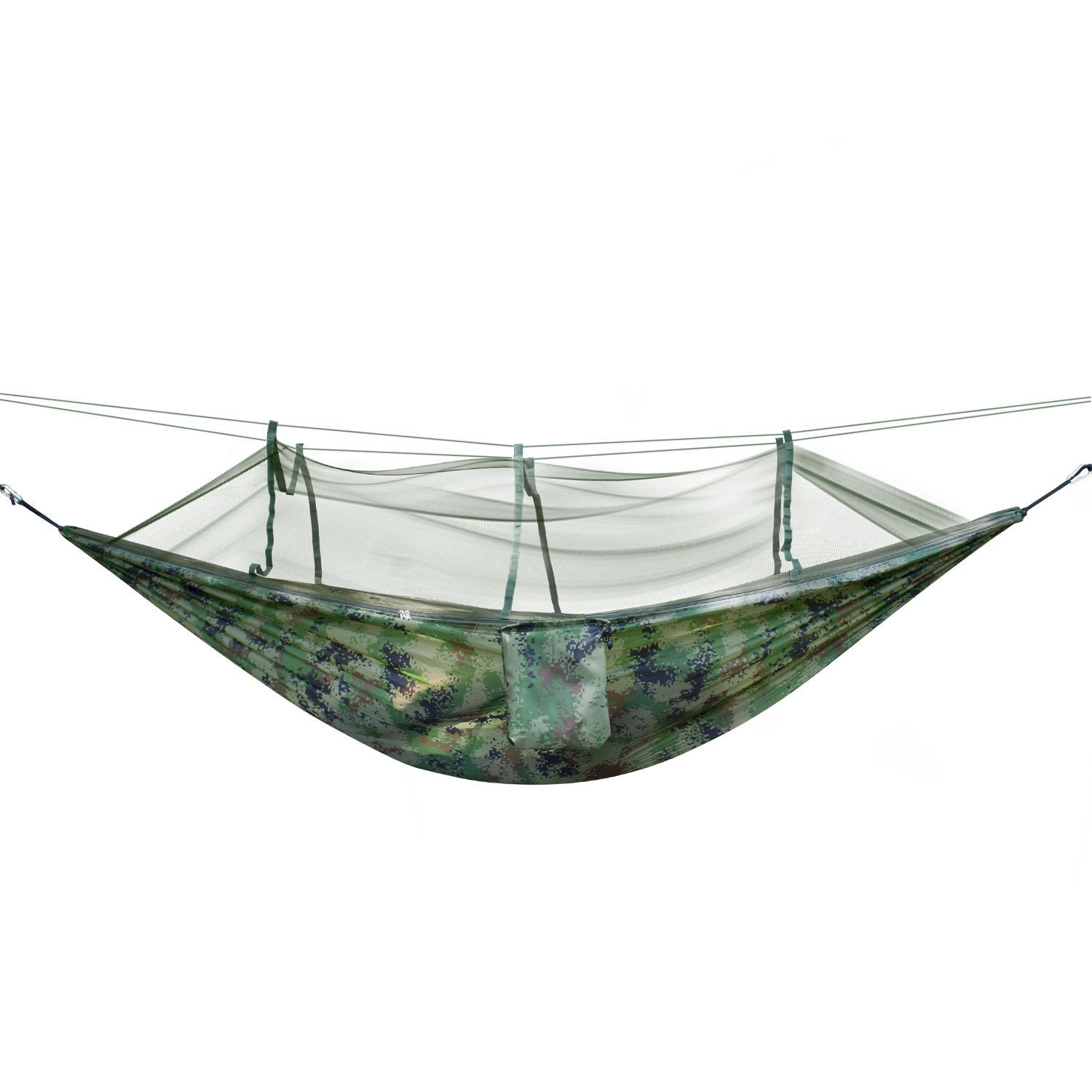 Camping Hammock with Mosquito Net, Heavy Duty Jungle Portable Hanging Bed Sleeping Hammocks Mosquito Net Bed for Patio,Outdoor, Camping, Hiking,Travelling, Beach (Camouflage) HY