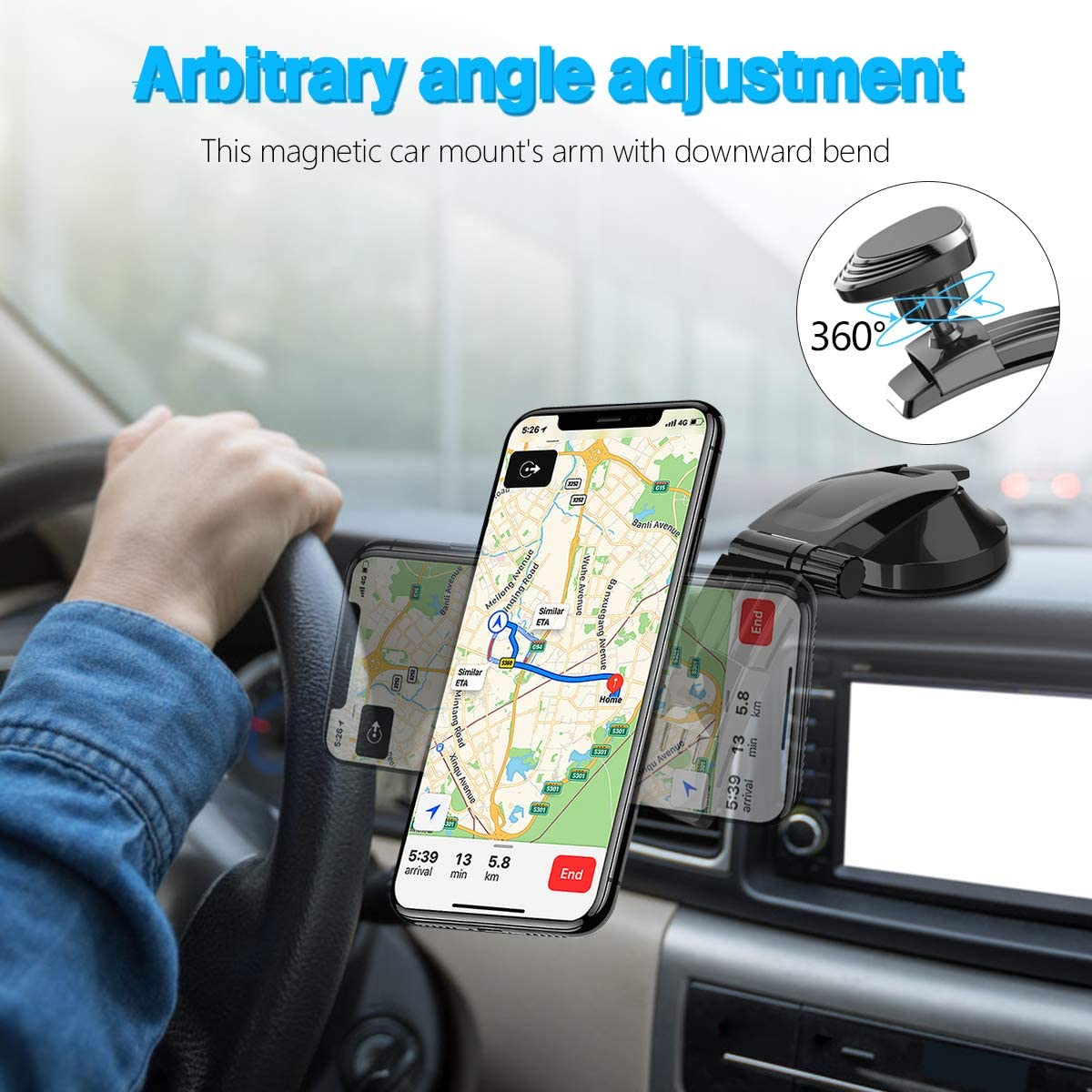 Magnetic Car Phone Mount Universal Dashboard Magnetic Cell Phone Holder with 2 Metal Plates for Car Compatible with All iPhone Samsung Huawei Oneplus Phones and More