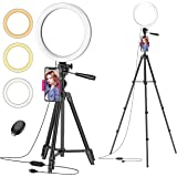 """Ring Light with 50"""" Extendable Stand, 10"""" Dimmable LED Selfie Ringlights for Live Stream/Makeup, 6000K Camera Circle Lights f"""