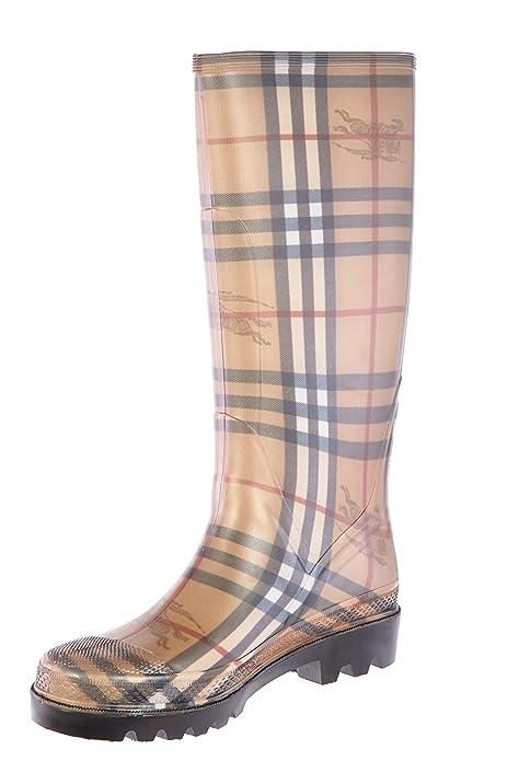 180ef444395 BURBERRY Bottes de Pluie en Caoutchouc Femme Classic Check Beige   Amazon.fr  Chaussures et Sacs