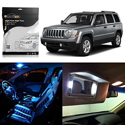 Partsam 8pcs Ice Blue 2007 2015 Jeep Patriot LED Interior Package + Tag  Lights +