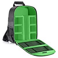 Neewer Camera Bag Waterproof Shockproof Partition 11x6x14 inches/27x15x35 centimeters Protection Backpack for SLR, DSLR, Mirrorless Camera, Lens, Flash, Battery and Other Accessories (Green Interior)