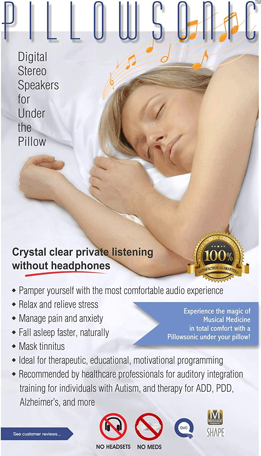 Pillowsonic Under-Pillow Speaker System with Bluetooth Wireless and MP3 Player Taupe//Orange