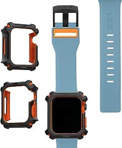 UAG Apple Watch Band 44mm 42mm, iWatch Series 6/5/4/Watch SE Replacement Strap, Civilian Slate/Orange + Apple Watch Case 44mm, iWatch Series 6/5/4/Watch SE Protective Bumper Case, Black/Orange