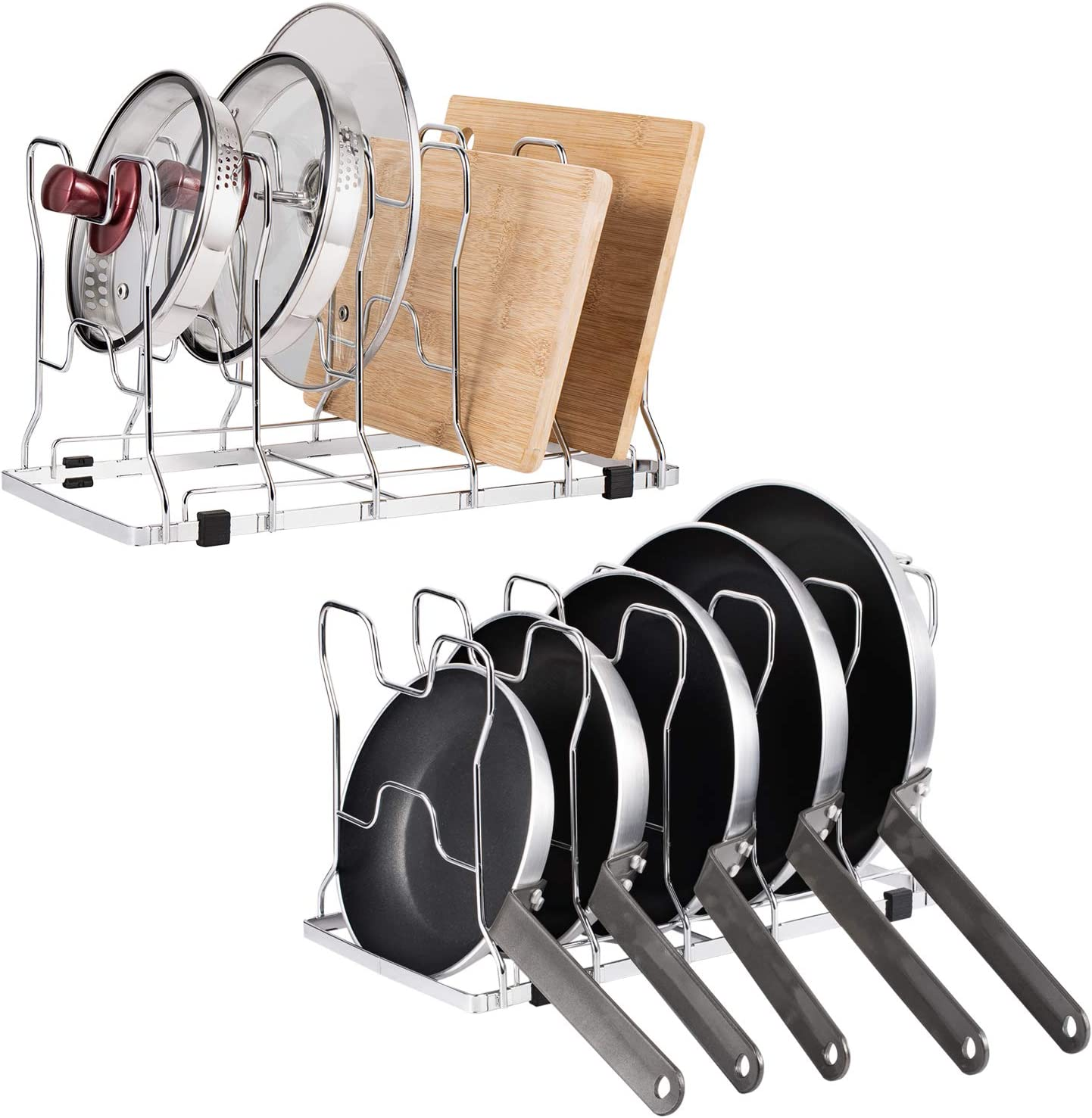 NEX 2 Pack Pan and Pot Lid Organizer Rack Holder for Kitchen Cabinet Pantry, Chrome