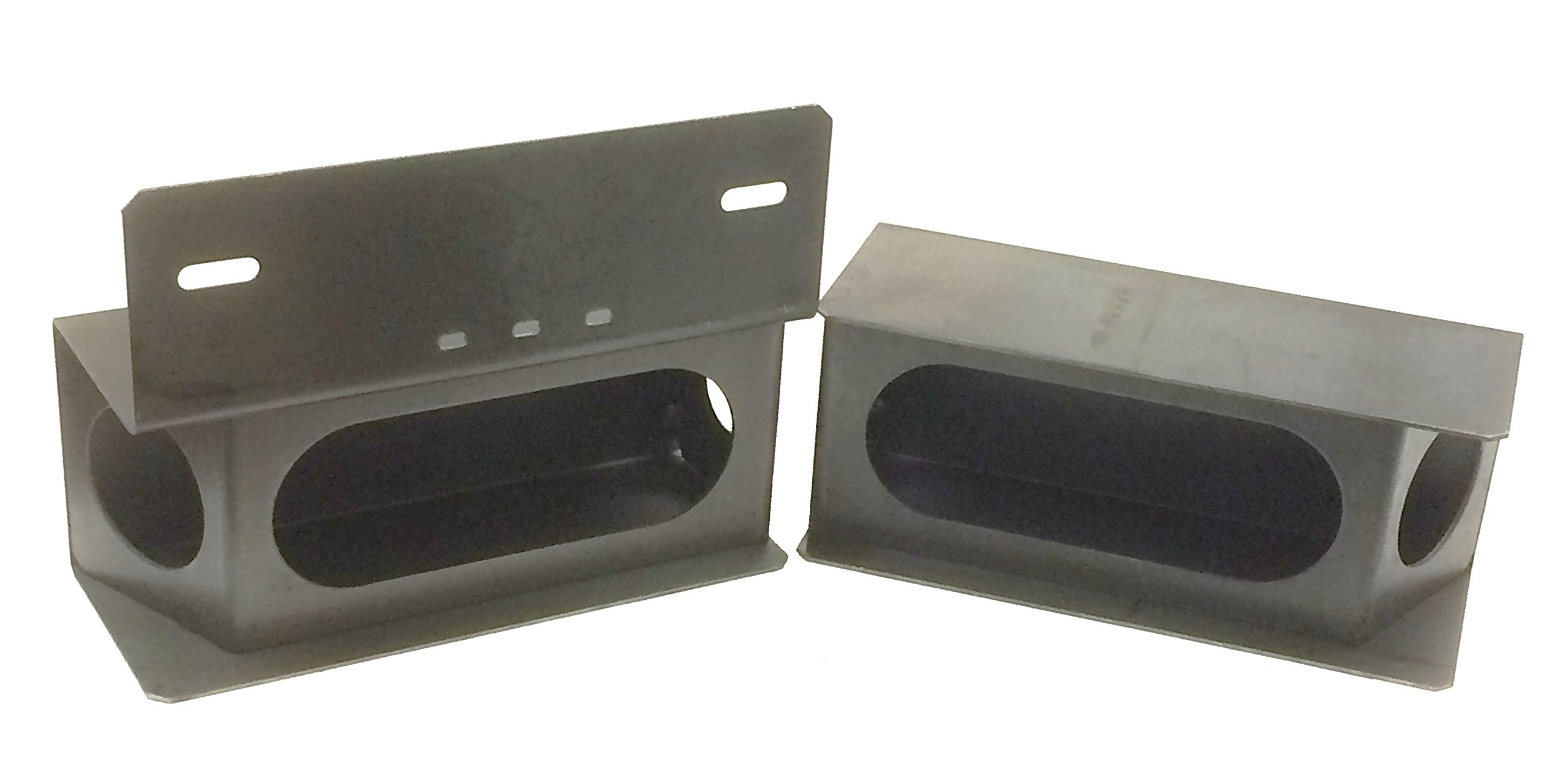 Set of Steel Trailer 6'' Oval & 2'' Angled Round Side Light Mount Box W/License Plate Rack - 24015/24016 by LIBRA