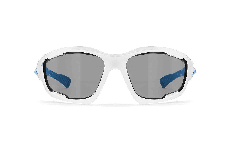 BERTONI Gafas de Sol Deportivas Polarizadas Fotocromáticas para Deporte Ciclismo MTB Pesca Esqui Golf Running Kitesurf - P1000FT Italy (Blanco - Azul Mate): ...