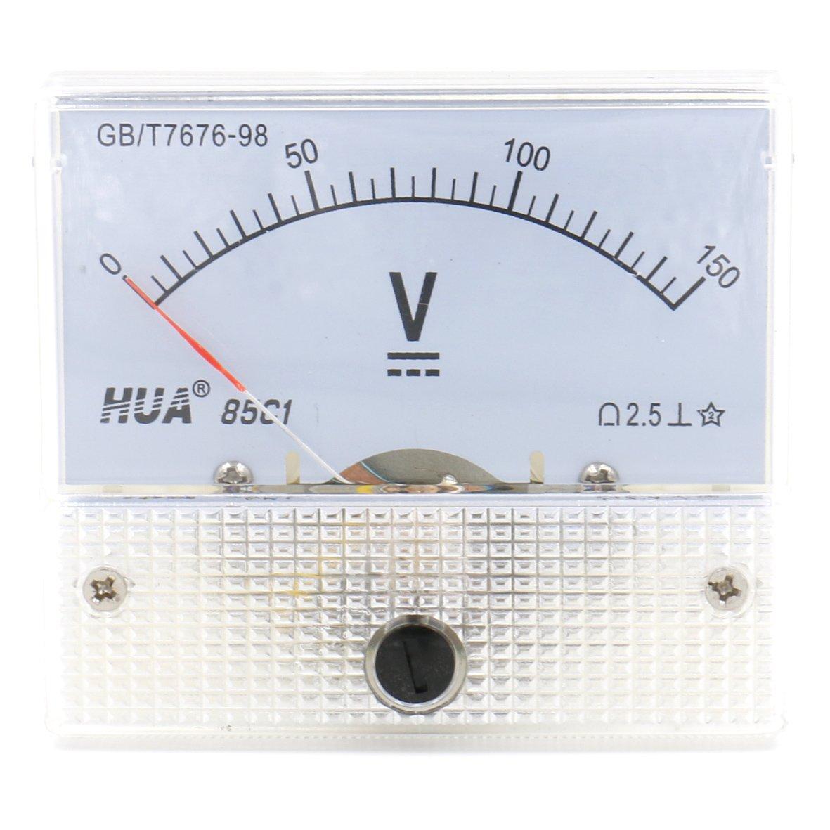 color blanco Medidor volt/ímetro rectangular Heschen 85C1-150V CC 0-150/V clase 2,5