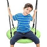 Odoland 24 inch Children Tree Swing SwingSeat, Outdoor Saucer Rope Swing Platform Swing for Kid, Round Swingset wirh…