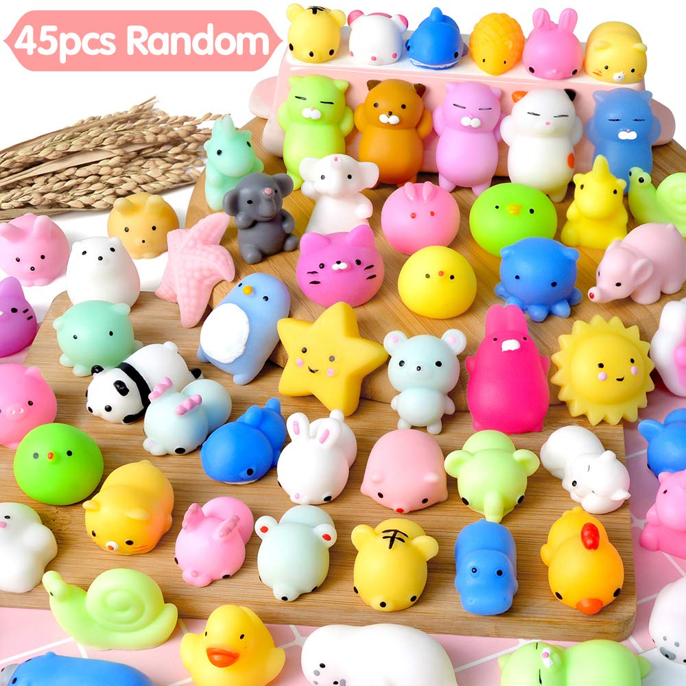 UMIKU 45PCS Mochi Squishy Toys Mini Squishy Kawaii Animal Squishies Gifts for Boys Girls Party Favors for Kids Cat Unicon Squishy Stress Relief Toys for Adult Random
