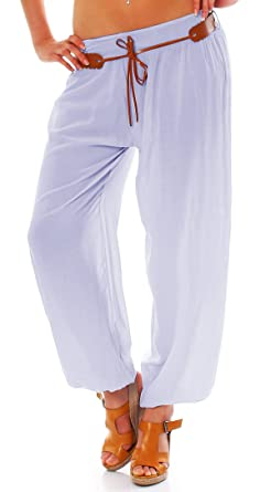 03e5157311273 ZARMEXX Pantalon de hanche pour femmes Harem Pantalon Bloomers pantalons  d été pantalons de harnais (38-42, bleu clair)  Amazon.fr  Vêtements et  accessoires