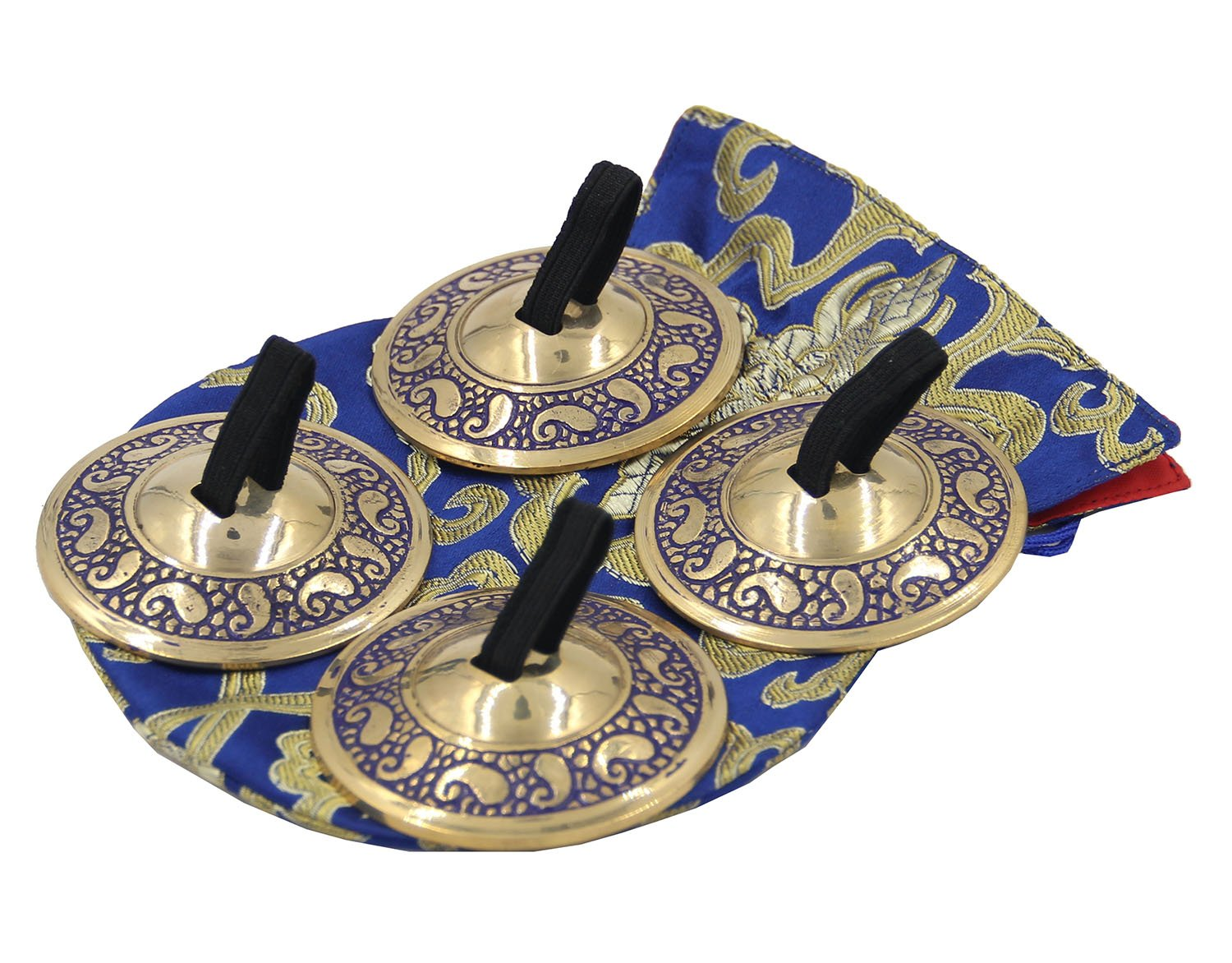 DharmaObjects 2 Pairs Pro Brass Fingers Cymbal Zills Belly Dancing Free Silk Pouch (Blue) by Lungta Imports