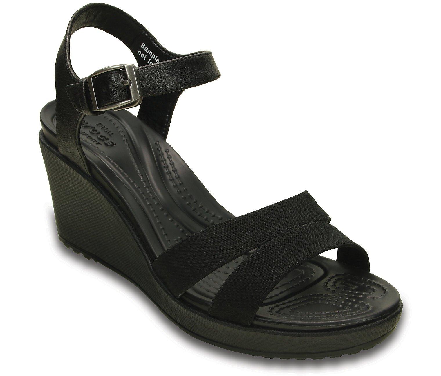 Crocs Women's Leigh II Ankle Strap Wedge, Black/Black, 10 M US