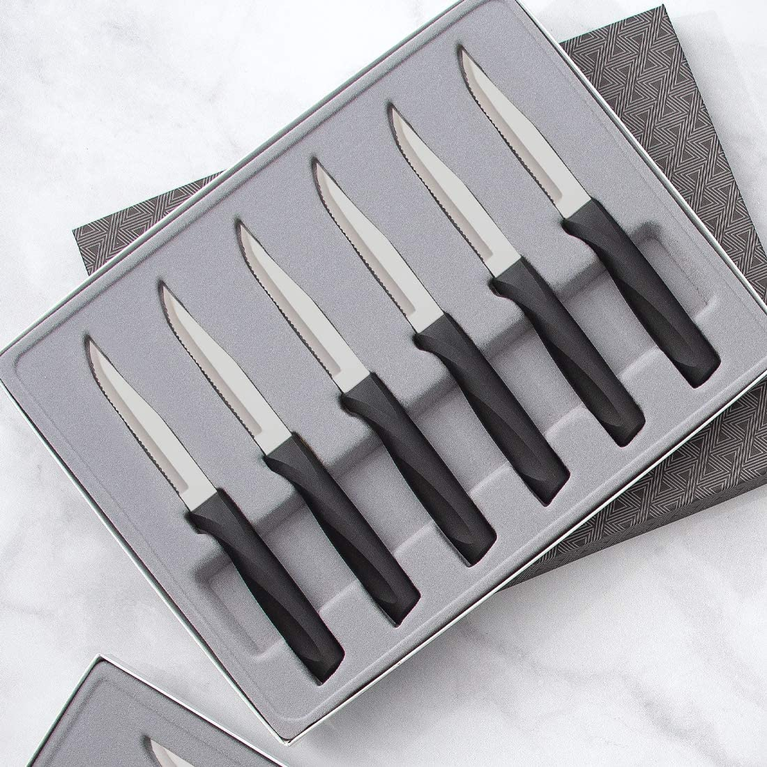 Rada Cutlery Anthem Series Serrated Knife Set Stainless Steel Dining Steak Knives with Ergonomic Black Resin Handles, Set of 6