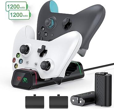 Cargador de mando Xbox One, batería recargable de 21200 mAh para Xbox One, alta velocidad, doble Xbox One/One S/One Elite Docking/estación de carga Xbox Wireless Controllers Kit de carga y reproducción: Amazon.es: