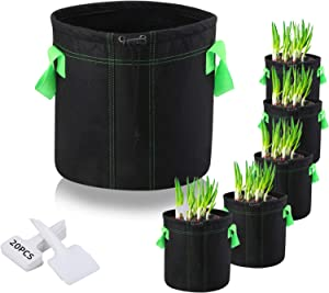 [New Version]6-Pack 3 Gallon Plant Grow Bags, Heavy Duty 300G Thickened Aeration Nonwoven Cloth Fabric Plants Pots with Handles and Shrink String, Garden Plant Grow Bags for Vegetables/Fruit/Flowers